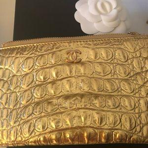 2019 Chanel Gold Croco Zip Case Wallet NWT